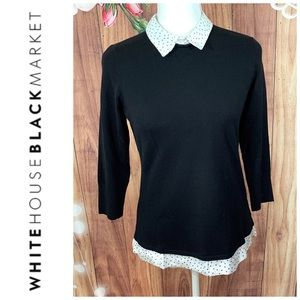 WHBM- Black w/ White Polkadot Collar & Trim - S